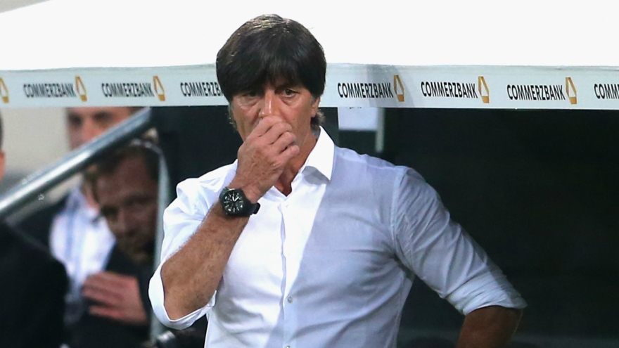 Joachim Low sniffing his nuts